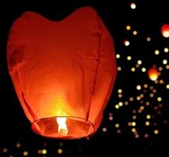 Небесный фонарик форма сердце, цвет: красный