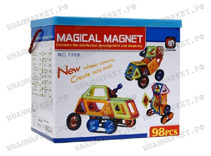 Магнитный конструктор 98 деталей  Magical Magnet – купить по выгодной цене с доставкой по Санкт-Петербургу и России | Интернет-магазин детских игрушек «Иван Маркет»