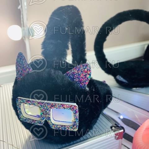 Ободок на уши Плюшевый с блёстками Котик в очках (цвет: Чёрный)