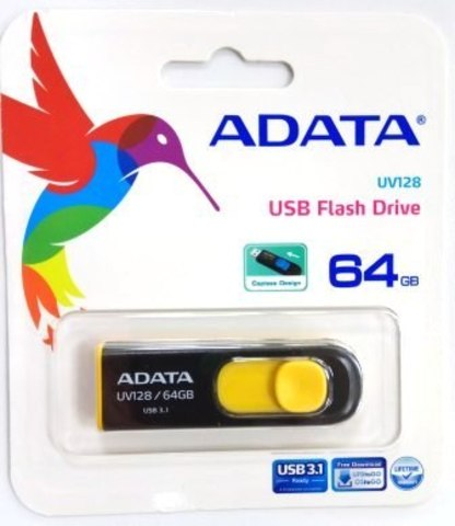 Флеш накопитель 64GB A-DATA UV128, USB 3.0 Bl/Yell