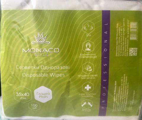 Салфетки Monaco 35см х 40см (100шт.), спанлейс, гладкие