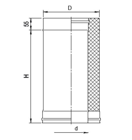 Сэндвич 0,5м (430/0,5мм + нерж.) Ф150х250