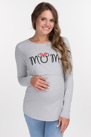 Лонгслив для беременных и кормящих 11089 серый/принт MOM