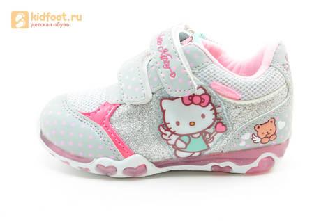 Светящиеся кроссовки для девочек Хелло Китти (Hello Kitty) на липучках, цвет серый, мигает картинка сбоку. Изображение 3 из 15.