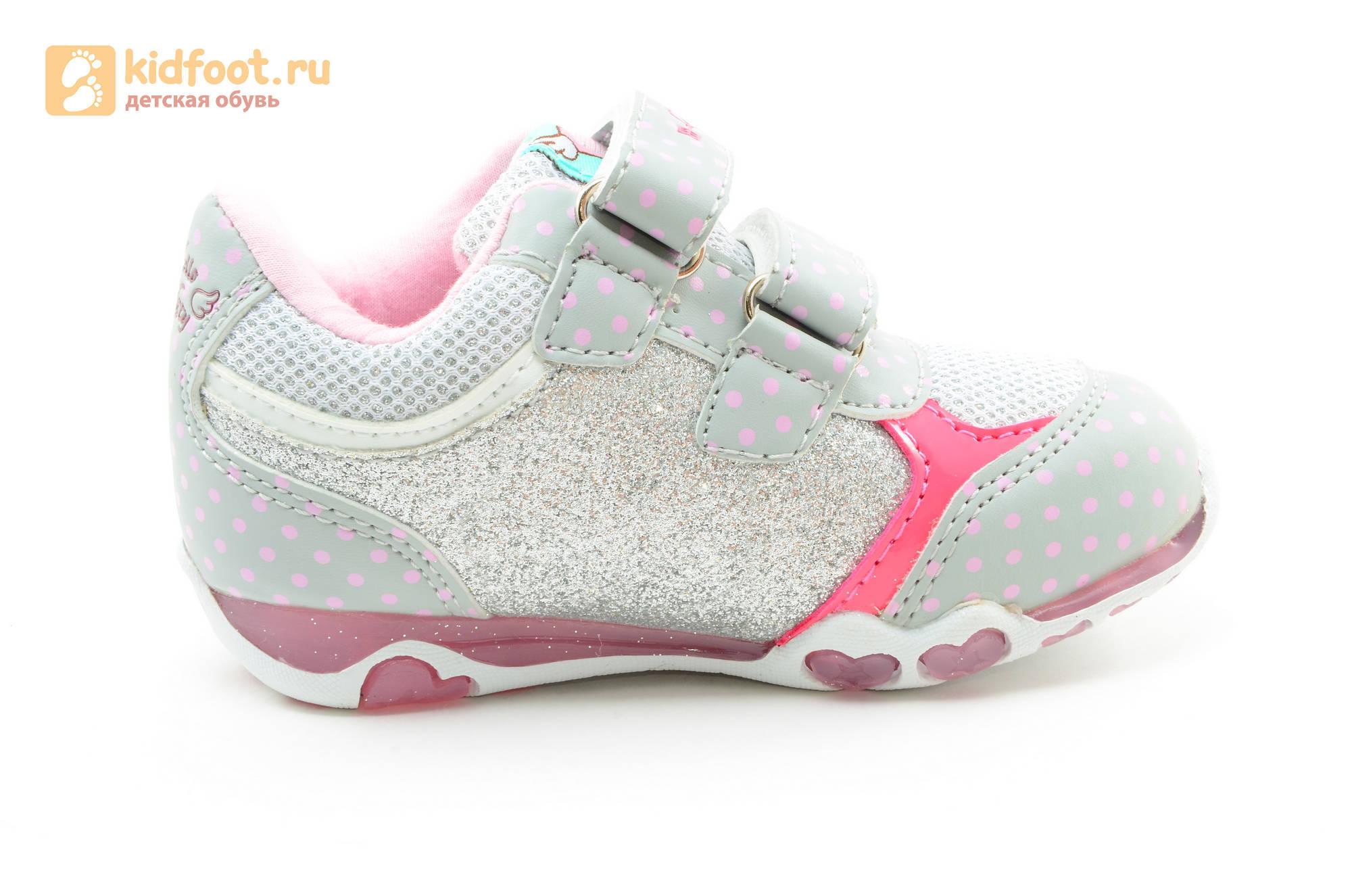 Светящиеся кроссовки для девочек Хелло Китти (Hello Kitty) на липучках, цвет серый, мигает картинка сбоку
