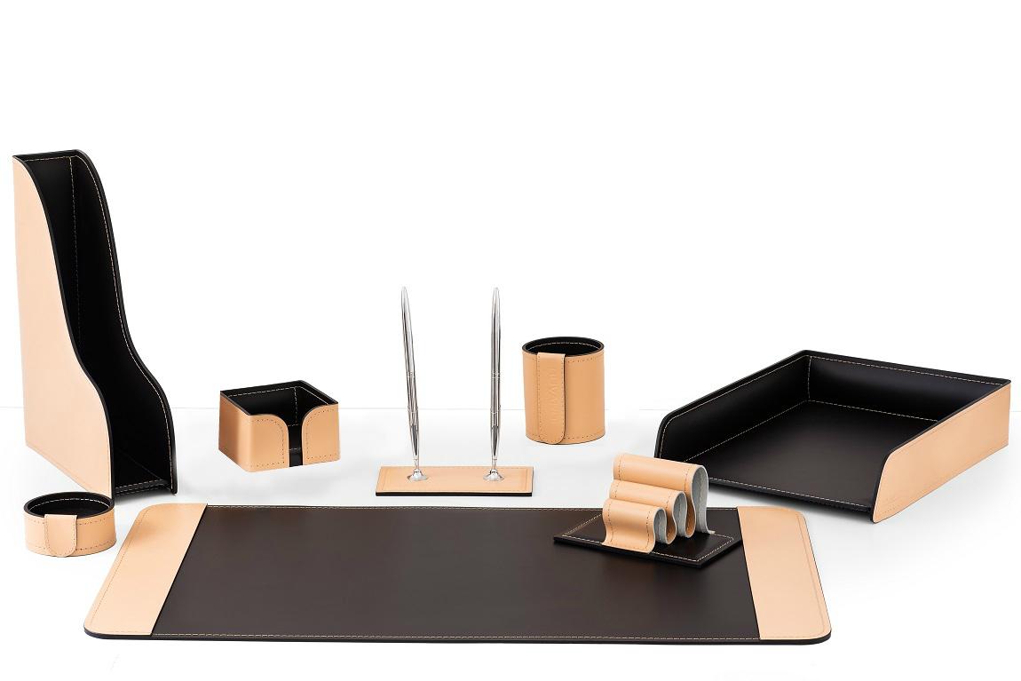 Настольный набор офисный 8 предметов из кожи натурале/шоколад бувардо випнабор
