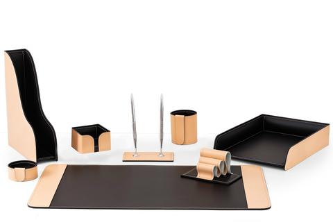 Настольный набор офисный 8 предметов из кожи натурале/шоколад