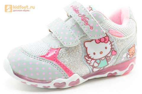 Светящиеся кроссовки для девочек Хелло Китти (Hello Kitty) на липучках, цвет серый, мигает картинка сбоку. Изображение 1 из 15.