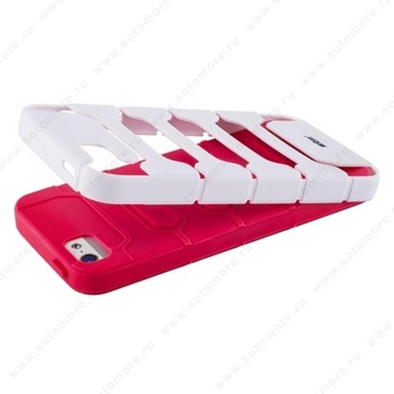 Накладка STM противоударный для iPhone SE/ 5s/ 5C/ 5 розовое на белом