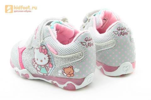 Светящиеся кроссовки для девочек Хелло Китти (Hello Kitty) на липучках, цвет серый, мигает картинка сбоку. Изображение 7 из 15.