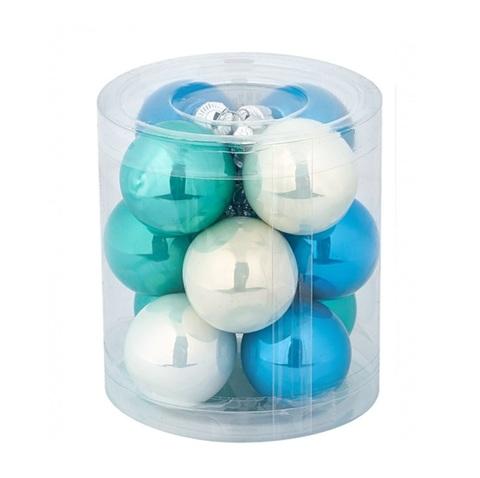 Набор шаров 12шт. (стекло), D4см,  цвет: бирюзовый микс