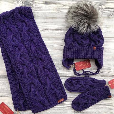 Комплект: шапка, шарф, варежки