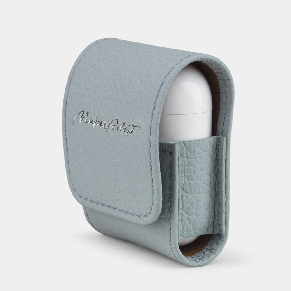 Чехол-держатель для наушников Petit Easy из натуральной кожи теленка, голубого цвета