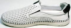 Летние спортивные туфли слипоны кожаные мужские Ridge Z-441 White Black.