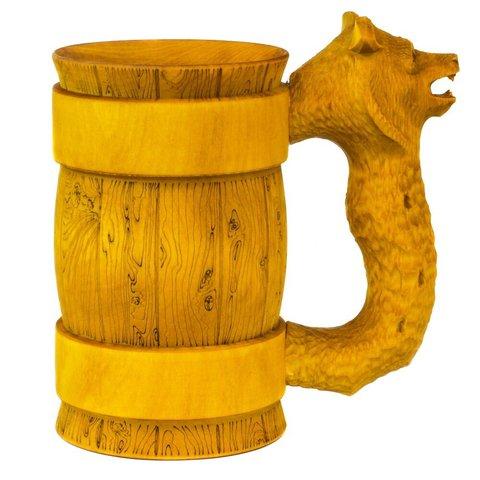 Кружка пивная деревянная WOOD&GOOD Bear с резной ручкой, 500 мл