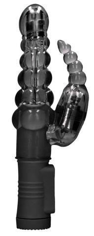 Черный вибратор-кролик Rotating Bubbles - 23,2 см.