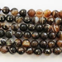 Бусина Агат (тониров), шарик с огранкой, цвет - коричневый с белыми полосками, 10 мм, нить