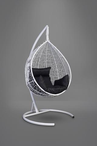 Подвесное кресло-кокон SEVILLA белое + каркас + черная подушка