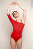 1 Sleeve 1 Strap leotard colour | scarlet
