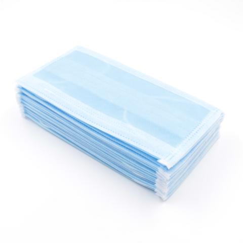 Маска трехслойная на резинках 50шт голубая