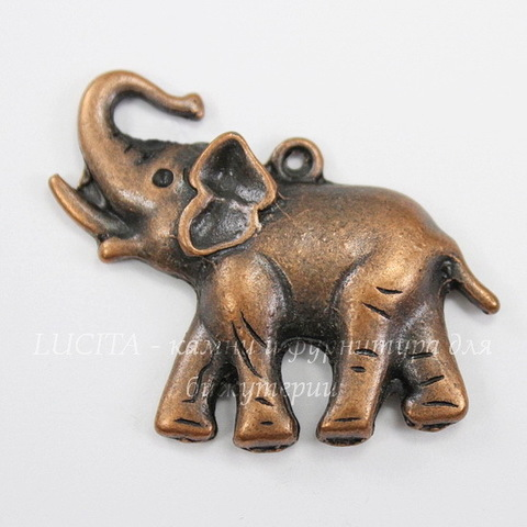 """Подвеска """"Слон"""" (цвет - античная медь) 32х37 мм"""