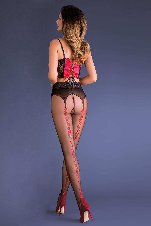 Колготки с вырезом черно-красные Gabriella - купить по выгодной цене в интернет-магазине Vishco