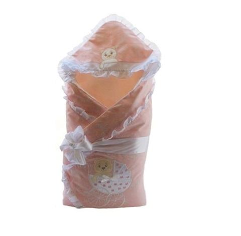 Зимний конверт на выписку для девочки Newborn розовый