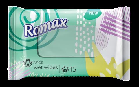 Фабрика Ромакс Romax Влажные салфетки гигиенические освежающие с ароматом Алоэ 15 шт.