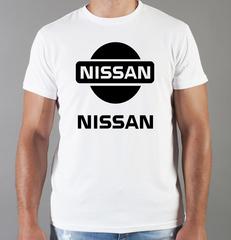 Футболка с принтом Ниссан (Nissan) белая 003