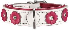 Ошейник для собак Hunter Daisy 32 (24-28 см) кожа с цветочками белый/розовый