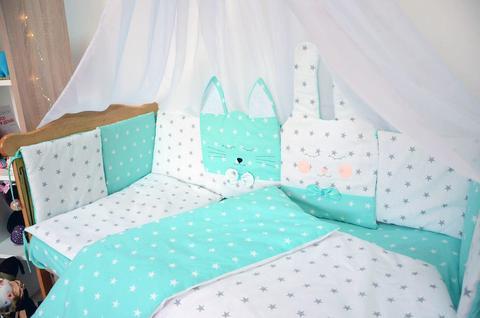 Комплект постельного белья Кися-Зая Мятно-белый