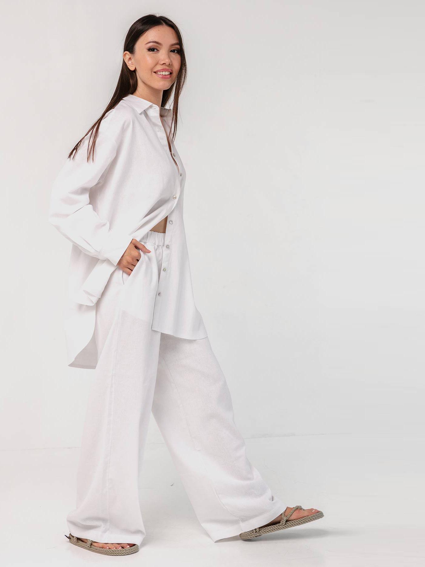 Льняной костюм белый YOS