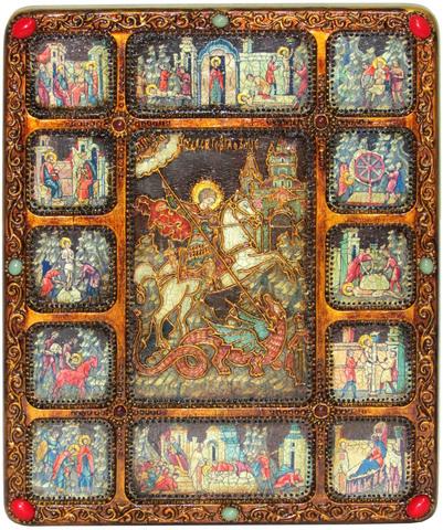 Икона Чудо святого Георгия о змие 37х30см с житийными клеймами на натуральном дереве