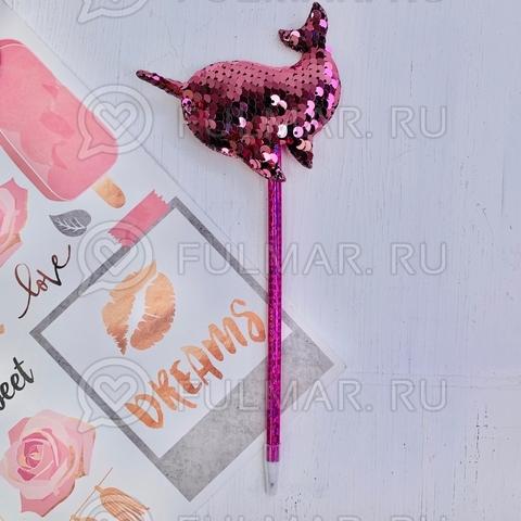 Ручка с пайетками Дельфин Розовый-Серебристый