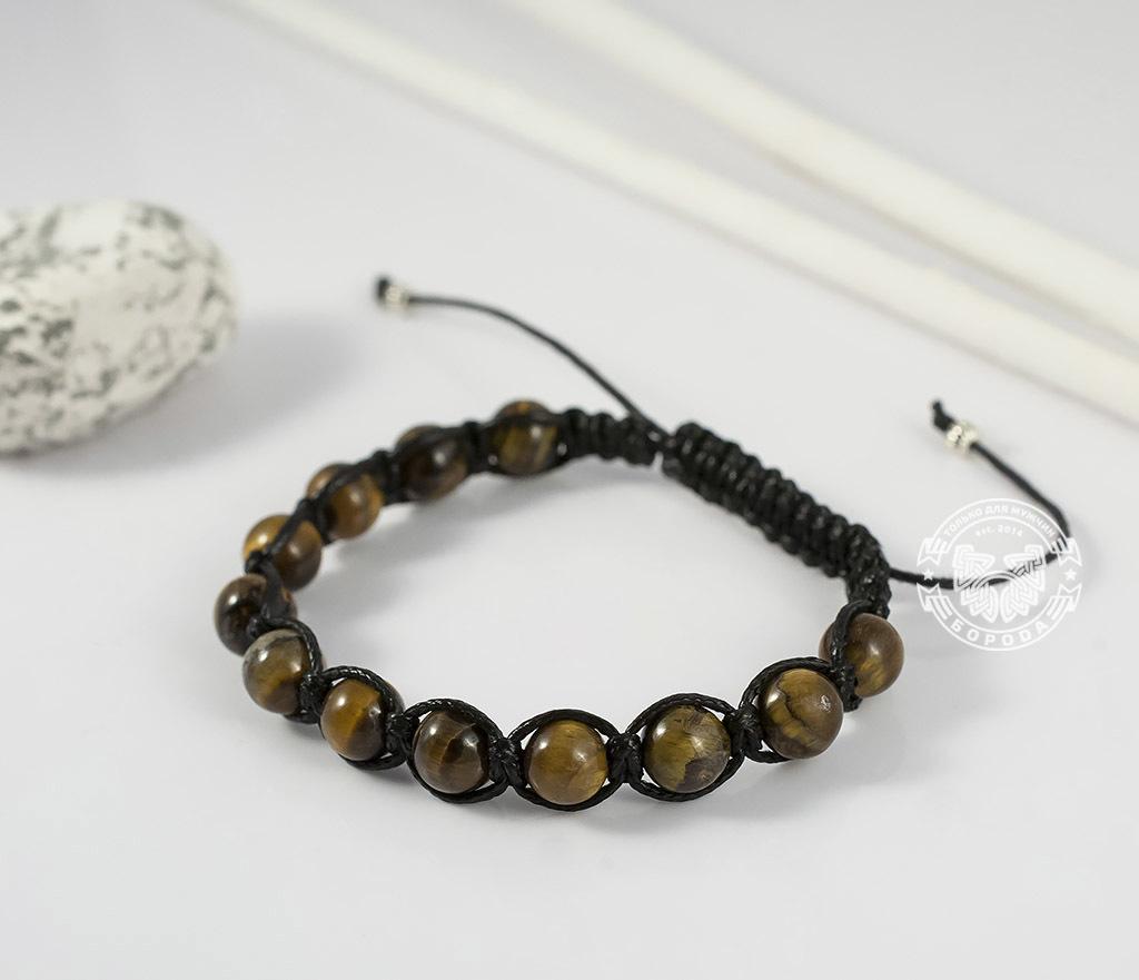 BS660 Стильный мужской браслет ручной работы из камня -тигрового глаза. «Boroda Design» фото 03