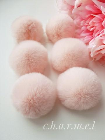 Помпон из натурального меха, Кролик, 5-6 см, цвет Нежный персик, 2 штуки