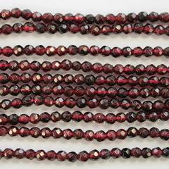 Бусина Гранат (категория AB), шарик с огранкой, цвет - бордовый, 3-3,5 мм, нить