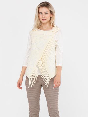 Фото модный фактурный белый жилет крупной вязки - Жилет С044-625 (1)