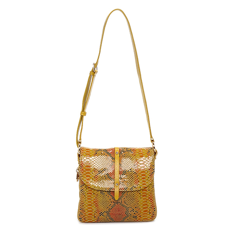 Женская желтая сумка из кожи Nina Farmina