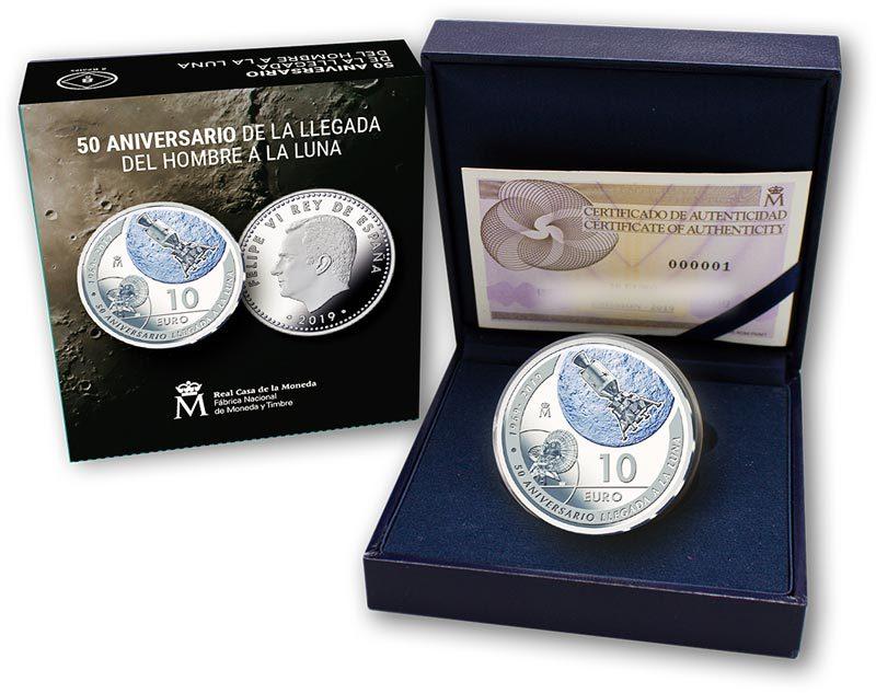 10 евро. Высадка на Луну 1969 Космос. Испания. 2019 год. PROOF