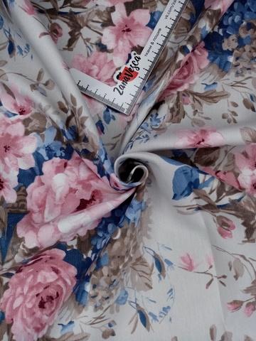 Ткань duck с тефлоновой пропиткой Розы и голубая сирень