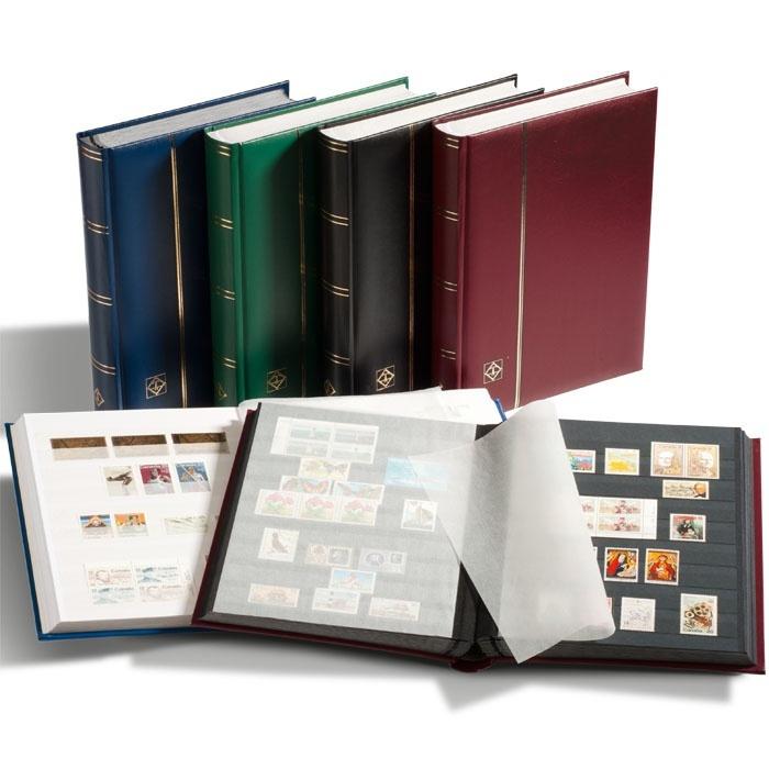 Кляссер для марок формата A4, 64 черные страницы, смягченная кожаная обложка, цвет синий