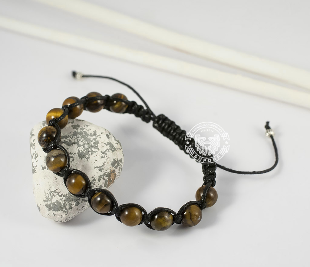 BS660 Стильный мужской браслет ручной работы из камня -тигрового глаза. «Boroda Design» фото 04
