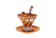 """Чайная янтарная чашечка в наборе с блюдцем и ложечкой, серия """"Летнее настроение"""""""