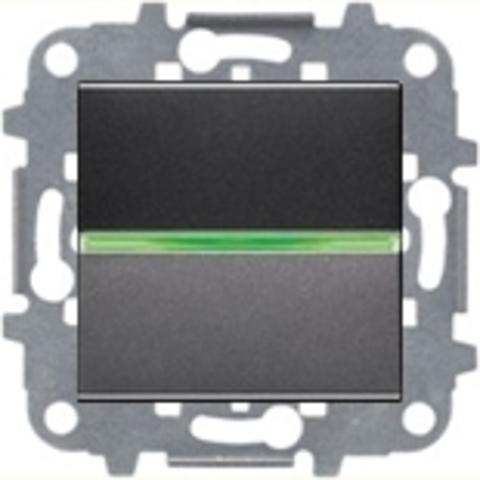 Выключатель одноклавишный c подсветкой. Цвет Антрацит. ABB Niessen Zenit. N2201 AN+N2271.9+N2191 VD