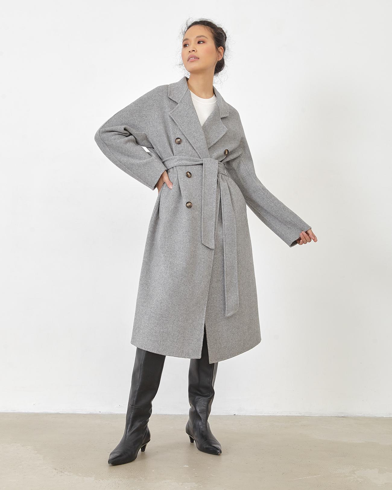 Пальто - халат цвета графит фото