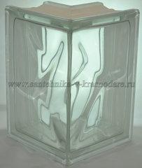 Угловой стеклоблок бесцветный волна Vitrablok 19x13x13x8