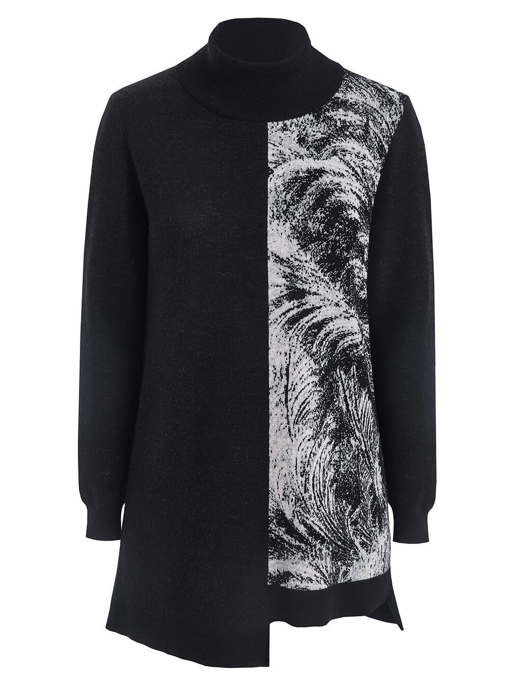 Женский свитер черного цвета из кашемира и вискозы - фото 1