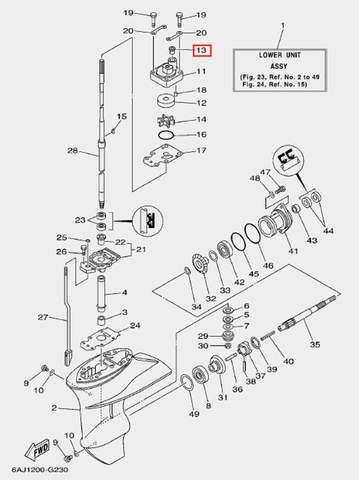 Сальник корпуса помпы для лодочного мотора F20 Sea-PRO (23-13)