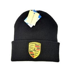 Вязаная шапка с вышитым логотипом Порше (Porsche) черная